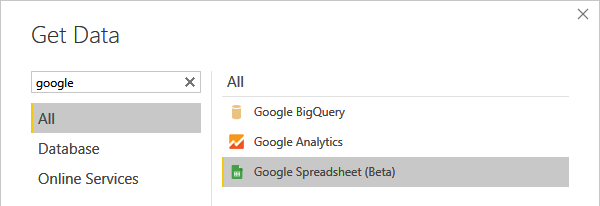 Google Spreadsheets Connector @ Power BI