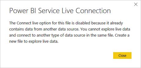 Power BI Service Live Connection Error